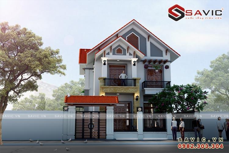 Mẫu nhà biệt thự đẹp 2 tầng hiện đại mái ngói đỏ nổi bật BT1616