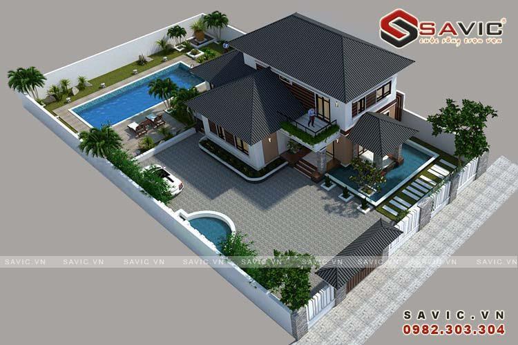 Biệt thự 2 tầng mái ngói hiện đại, sang trọng, thời thượng BT1617