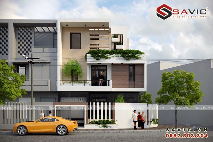 Biệt thự góc 3 tầng đẹp 2 mặt tiền phong cách hiện đại BT1620