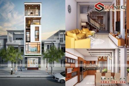 Bản vẽ thiết kế mẫu nhà phố 5 tầng trẻ trung năng động NO1605