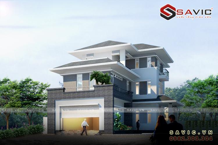 Thiết kế biệt thự đẹp 3 tầng hiện đại diện tích 14 x 21m BT1567