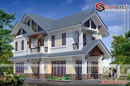 Thiết kế nhà biệt thự hiện đại 2 tầng đẹp hoàn hảo từng chi tiết BT1593