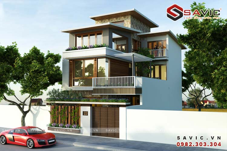 Mẫu nhà biệt thự đẹp 3 tầng hiện đại thông thoáng BT1579