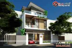 Thiết kế nhà biệt thự phố đẹp 3 tầng mái chéo BT1580