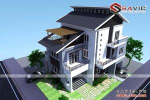 Thiết kế biệt thự hình khối theo kiến trúc văn phòng cao ốc BT1582