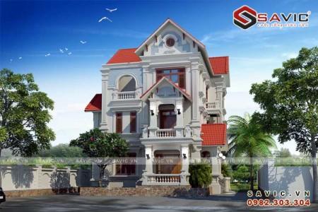 Thiết kế nhà biệt thự 3 tầng đẹp sang trọng thanh lịch BT1587