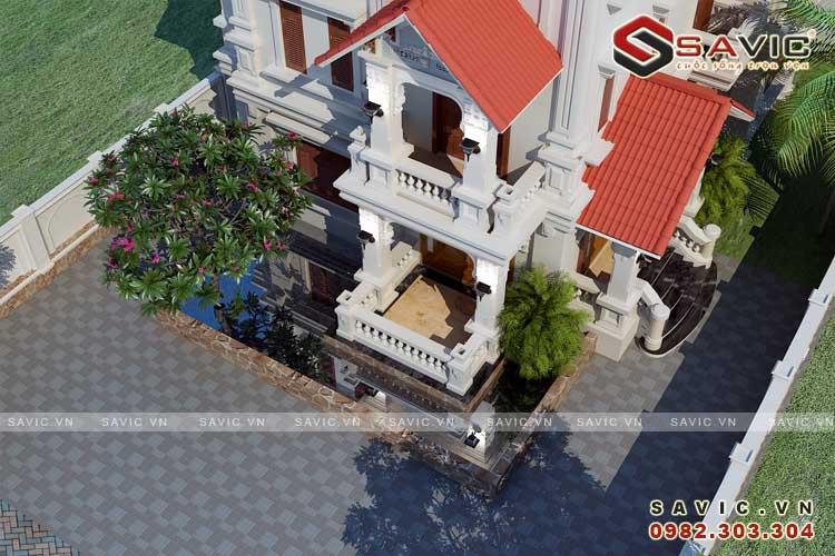 Cận cảnh mẫu biệt thự đẹp 3 tầng BT1587
