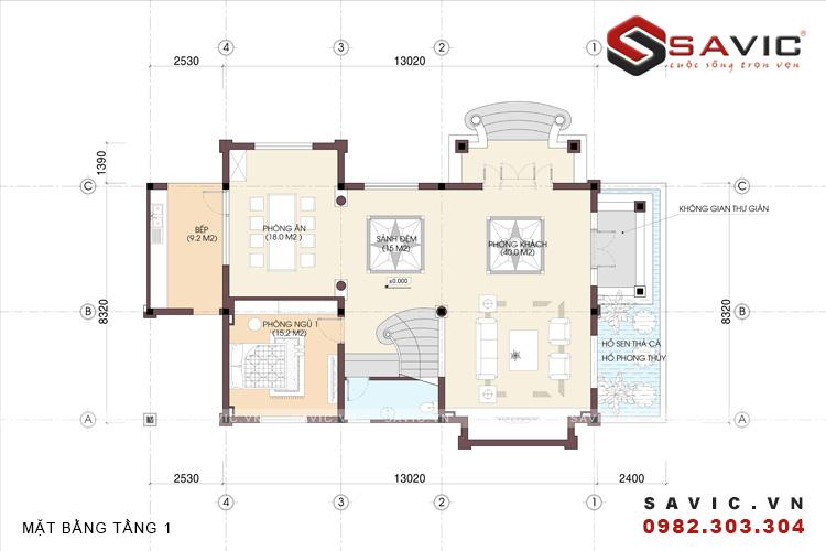 Mặt bằng tầng 1 mẫu nhà biệt thự đẹp 3 tầng BT1587