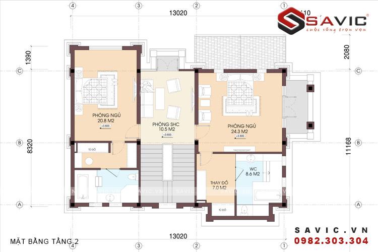Mặt bằng tầng 2 mẫu nhà biệt thự đẹp 3 tầng BT1587