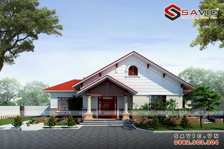 Biệt thự nhà vườn mái thái theo phong cách hiện đại BT1578