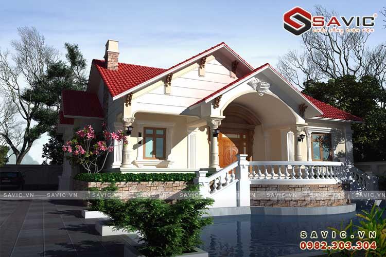 Nhà vườn 1 tầng phong cách tân cổ điển sang trọng BT1585