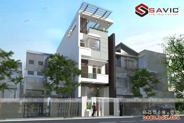 Mẫu nhà phố đẹp 4 tầng đường nét kiến trúc phóng khoáng NO1516