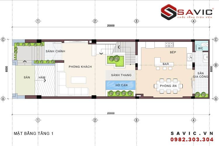 Mặt bằng tầng 1 mẫu nhà phố đẹp 4 tầng đường nét kiến trúc phóng khoáng NO1516