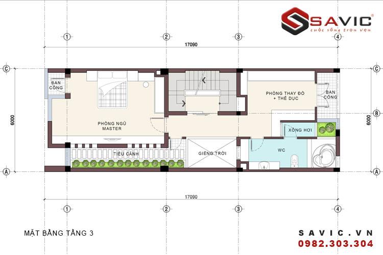 Mặt bằng tầng 3 mẫu nhà phố đẹp 4 tầng đường nét kiến trúc phóng khoáng NO1516