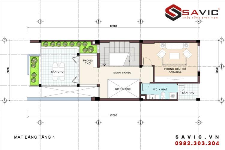 Mặt bằng tầng 4 mẫu nhà phố đẹp 4 tầng đường nét kiến trúc phóng khoáng NO1516