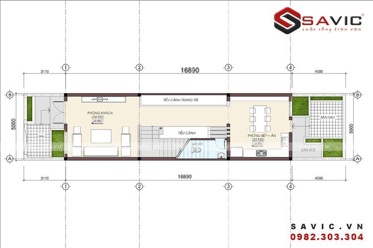 Mặt bằng tầng 1 mẫu nhà ống đẹp 3 tầng hiện đại diện tích 5 x 17m2 NO1517