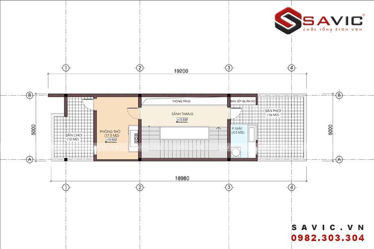Mặt bằng tầng 3 mẫu nhà ống đẹp 3 tầng hiện đại diện tích 5 x 17m2 NO1517