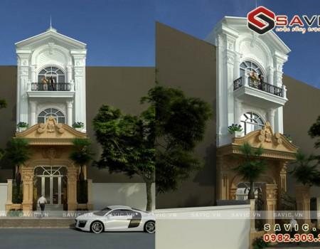 Mẫu nhà biệt thự phố đẹp 3 tầng phong cách cổ điển NO1520