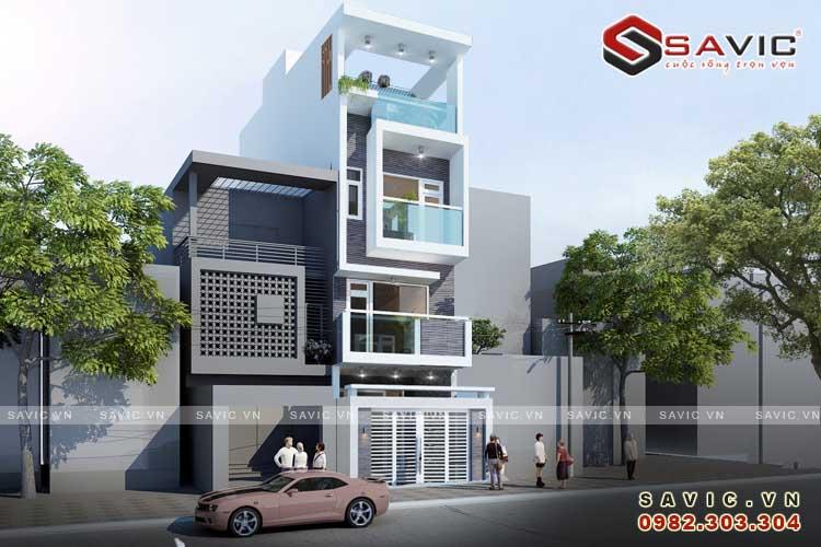 Mẫu nhà phố đẹp 4 tầng kết hợp vật liệu kính và đèn trang trí NO1519