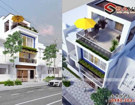 Mẫu thiết kế nhà phố đẹp phong cách hiện đại với ban công rộng NO1521