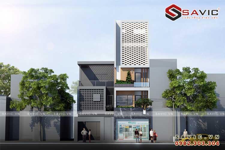 Phối cảnh góc nhìn chính diện mẫu nhà phố đẹp 5 tầng kiểu cách kiến trúc Vintage NO1512