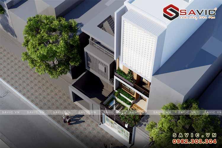 Phối cảnh góc nhìn cao mẫu nhà phố đẹp 5 tầng kiểu cách kiến trúc Vintage NO1512