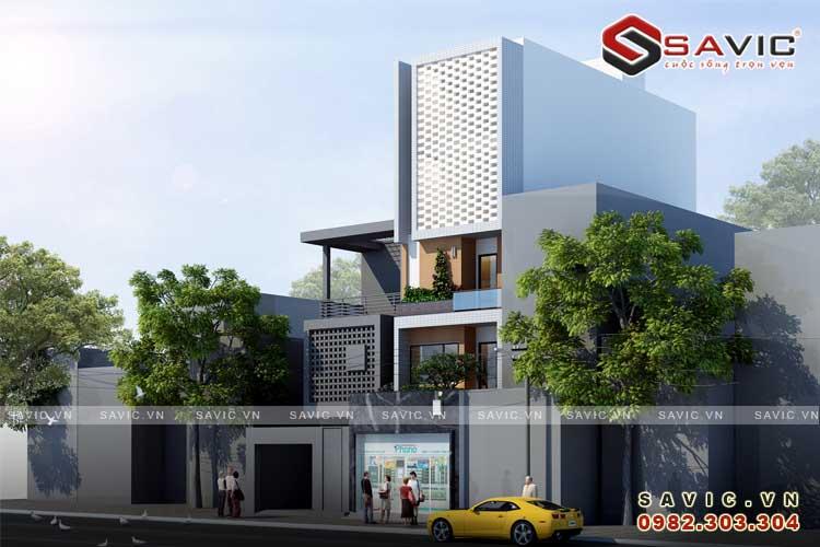 Phối cảnh góc nhìn nghiêng mẫu nhà phố đẹp 5 tầng kiểu cách kiến trúc Vintage NO1512