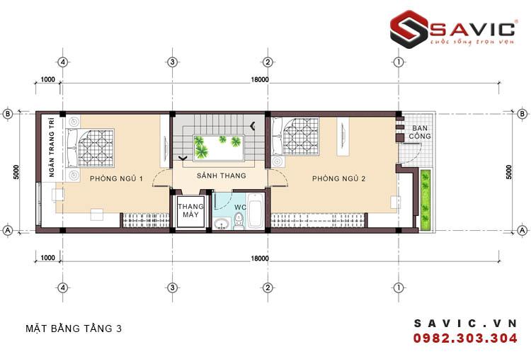 Mặt bằng tầng 3 mẫu nhà phố đẹp 5 tầng NO1512