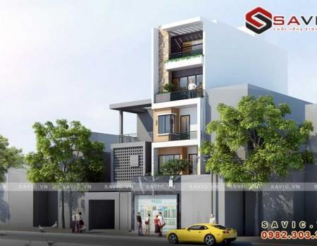 Mẫu nhà phố đẹp 5 tầng phong cách hiện đại phóng khoáng NO1513