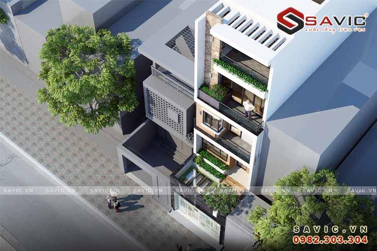 Góc nhìn trên cao mẫu nhà phố đẹp 5 tầng NO1513