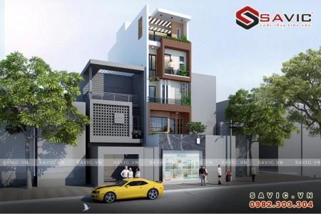 Thiết kế nhà phố 5 tầng đẹp kết hợp kinh doanh bán hàng NO1514