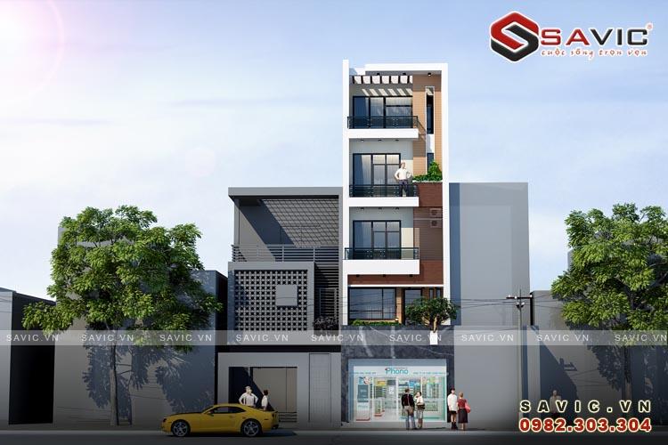 Góc nhìn chính diện mẫu nhà phố đẹp 5 tầng phong cách hiện đại NO1515
