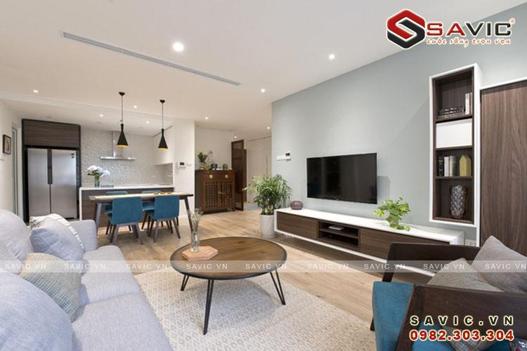 Nội thất phòng khách và bếp ăn mẫu thiết kế nội thất chung cư NTC1506