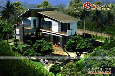Biệt thự nghỉ dưỡng 2 tầng hiện đại tràn ngập không gian xanh BT1503