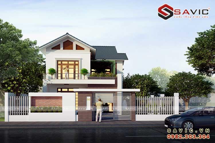 Mẫu nhà đẹp 2 tầng hiện đại công năng thoải mái nhất BT1544