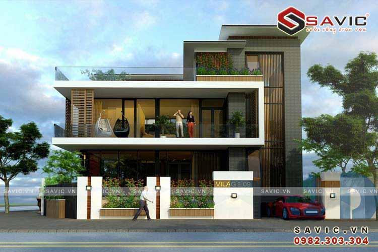 Biệt thự hiện đại đẹp 2 tầng hòa mình vào thiên nhiên BT1538