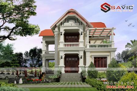 Mẫu nhà biệt thự đẹp 2 tầng tân cổ điển sang trọng tinh tế BT1594