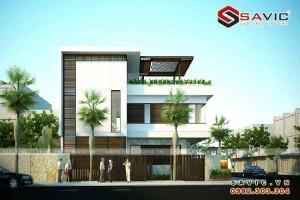 Nhà biệt thự đẹp 3 tầng hình khối đường nét khỏe khoắn BT1500