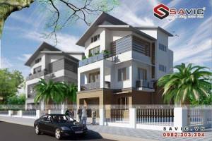 Mẫu nhà biệt thự đẹp 3 tầng mái chéo phong cách hiện đại BT1505