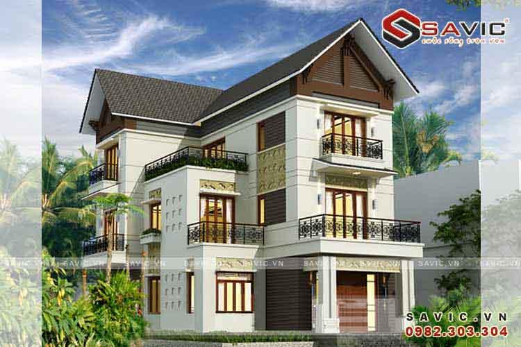 Thiết kế nhà biệt thự 3 tầng đẹp cuốn hút hiện đại BT1515