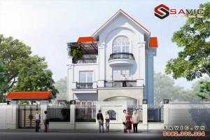 Biệt thự đẹp 3 tầng hiện đại gram màu trắng tinh khôi BT1559