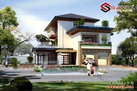 Thiết kế biệt thự 3 tầng đẹp mắt đẳng cấp và sang trọng BT1614