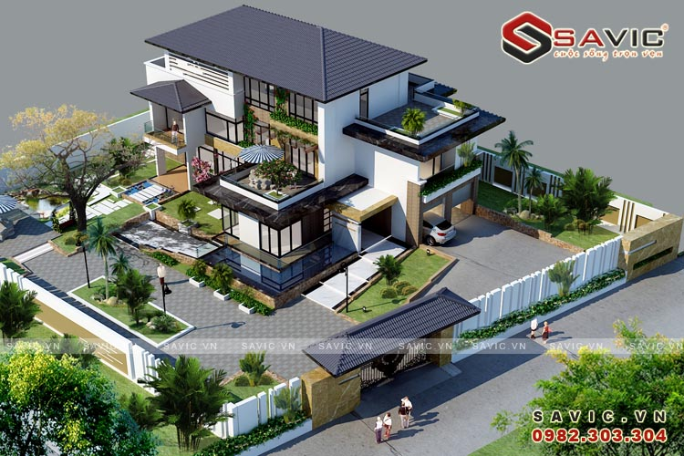 Phối cảnh tổng thể mẫu thiết kế biệt thự đẹp 3 tầng BT1614