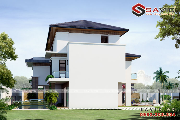Phối cảnh góc nhìn khác mẫu thiết kế biệt thự đẹp 3 tầng BT1614