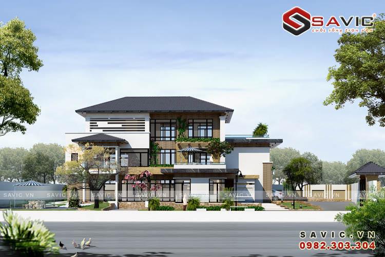 Mặt tiền mẫu thiết kế biệt thự đẹp 3 tầng BT1614_2