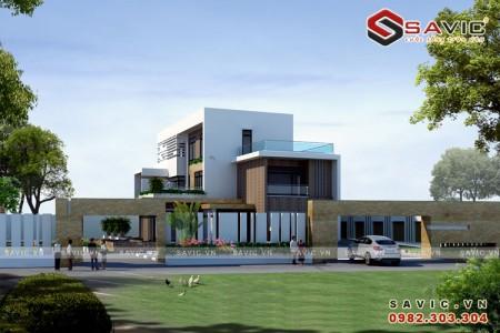 Thiết kế nhà biệt thự đẹp 3 tầng đậm chất hiện đại BT1615