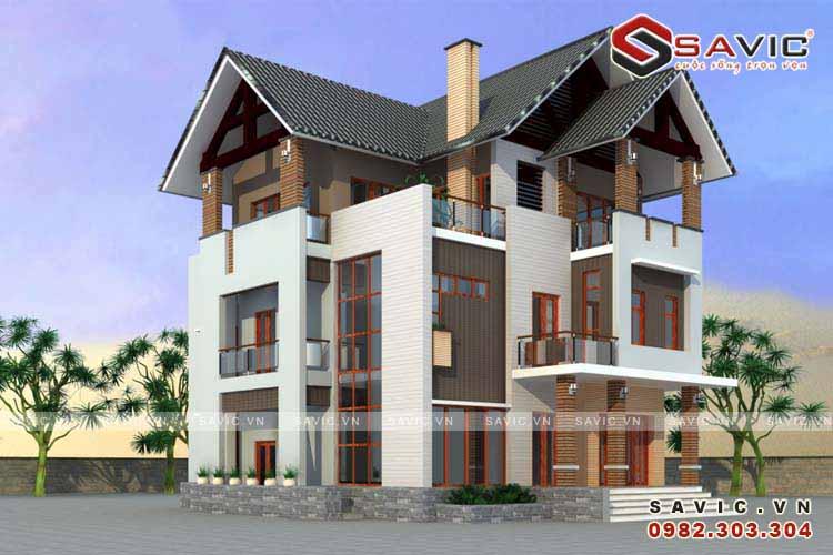 Thiết kế nhà biệt thự đẹp 3 tầng kết hợp vật liệu gỗ pha kính BT1525