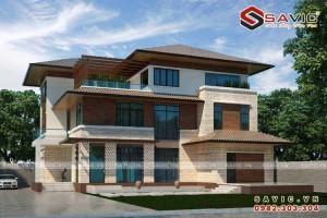 Nhà biệt thự đẹp 3 tầng hiện đại với gram màu nâu gỗ BT1536