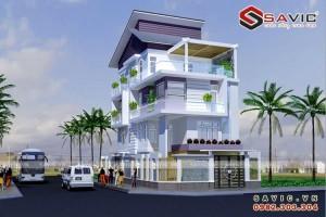 Mẫu nhà biệt thự đẹp 4 tầng gram màu trắng sang trọng BT1545
