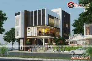 Mẫu thiết kế nhà hàng kinh doanh quán cafe đẹp hiện đại BT1612